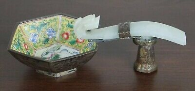 Fine Antique Chinese Enamel With White Jade Belt Hook Holder Qing Period