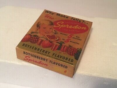 Vintage 1940's Unopened Box of SPREDON Boysenberry Flavored Gelatin Spread