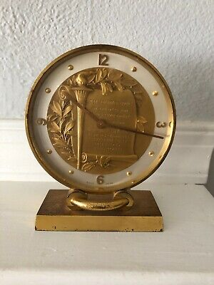 Vintage Swiss 8 Day Concord Round Brass Table Clock - For Parts/Not Working