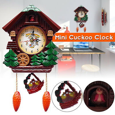 Handcraft Wood  Cuckoo Clock House Tree Style Wall Clock Art Vintage Home Decor