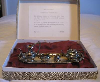 DH&S Hall Marked Solid Silver Miniature Georgian Tea Set. Boxed. Missing 1 Lid