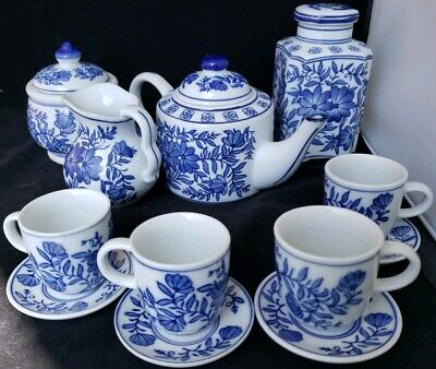 8 PC China Tea Set Blue Floral Teapot Sugar Creamer Cups Saucers Coffee Canister