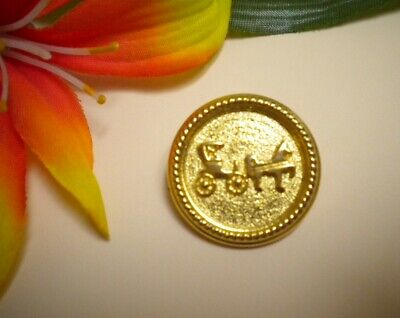 Antique Horse Drawn Buggy Carriage Coach Gold Toned Metal Vintage Picture Button