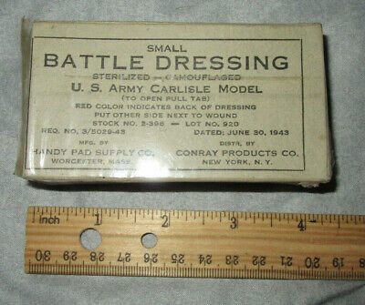 Original Wwii Us Army First Aid Dressing, Small Carlisle Dated 1943