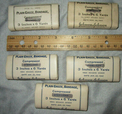 """Five Packs Original Us Army, Wwii Gauze Bandages, 3"""" X 6 Yards, 1942 Dated"""