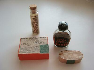 Amazing US Revenue Stamps USED ON (4) 1800's Pill Boxes & Medicine Bottles/Rare!