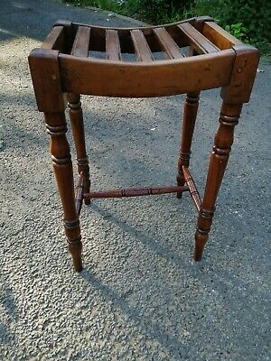 Antique Victorian Piano Stool With Turned Legs And Slatted Seat