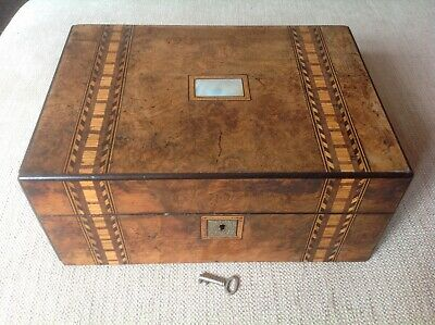 Locking Wooden Box With Mother Of Pearl Inlay