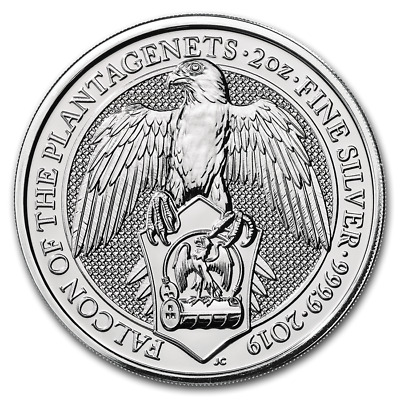 2019 Queen Beasts The Falcon .9999 2 Oz. Silver Coin - Direct Fit Capsule