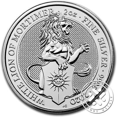 2020 Queen Beasts The White Lion .9999 2 Oz. Silver Coin - Direct Fit Capsule