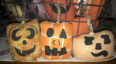 Primitive Halloween Orange Pumpkin Ornies Bowl Fillers Decor Set Of 3