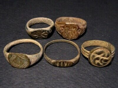 LOT of 5pcs. ANCIENT ROMAN , BYZANTINE AND MEDIEVAL FINGER RINGS+++