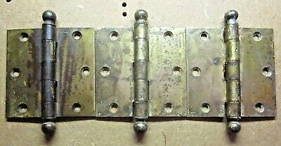 """Lot 3 Antique 3-1/2"""" Stanley Hinges Ball Tips Brass Plated Mortise Door Square"""