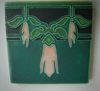 "Motawi Tileworks Art Tile ""SWEET PEA""  6"" x 6""  Art Deco Nouveau Arts & Crafts"