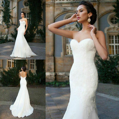Mermaid Long Wedding Dress Sweetheart White Ivory Lace Bridal Gown Custom Size