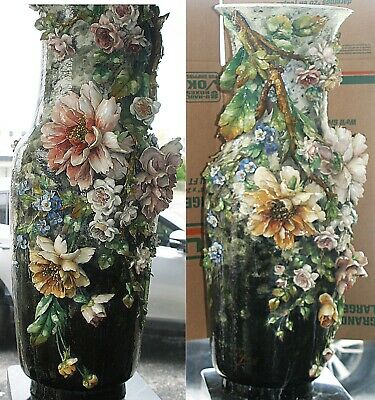 Two Large Original Exquisite Antique French Barbotine Floral Majolica Vases 41""