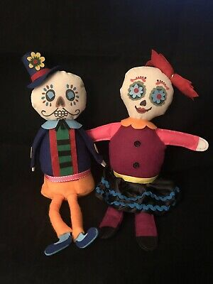 Day of the Dead - Sugar Skull - Dia De Los Muertos Felt Doll Shelf Sitter Set