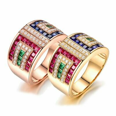 Women Rings Colorful Princess Cut Cubic Zirconia Wedding Engagement Jewelry Prom