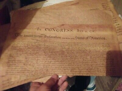 4 Historical Documents of Freedom Authentic Reproductions on Antiqued Parchment