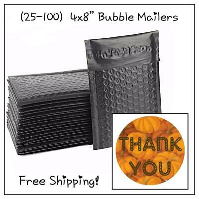 """25-100 Pack - 4x8"""" Black Designer Bubble Mailers! **FREE SHIPPING!**"""