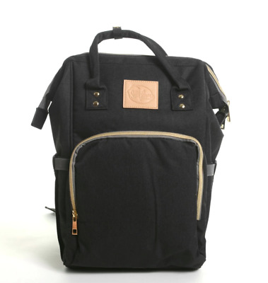 Sweet Lemon Boutique Carry-all Canvas Backpack Baby Diaper Bag Black/Tan NEW