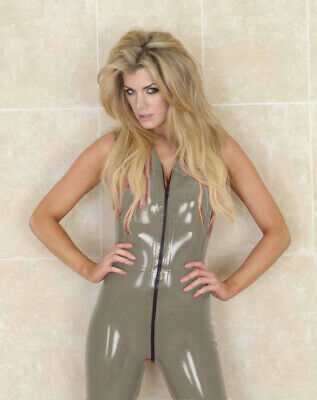 Latex Rubber Anzug Catsuit 100% Gummi Set Sports Zipper Ärmellos Bodysuit S-XXL