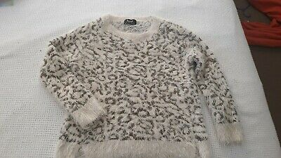 Bardot junior fluffy leopard print jumper size 10