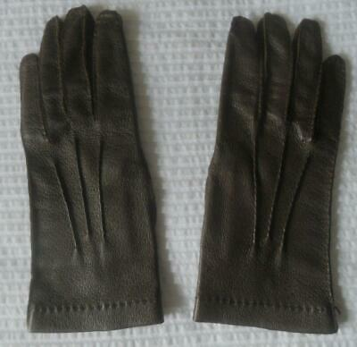 Ladies Vintage 1950S Brown Leather Gloves Great Stitch Detail 6 1/2
