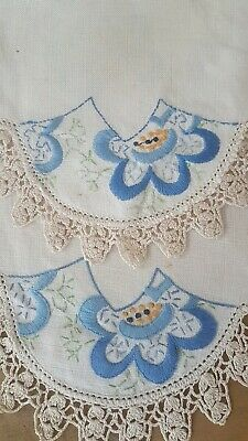 2 Blue Daisies Hand Embroidered Vintage Centre Doilies  Beautiful Crochet Edging