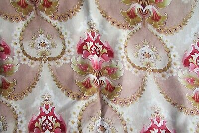 "Stunning Antique French Art Nouveau Cretonne Cotton Length  2ft 2"" x 8ft 7"" #4"