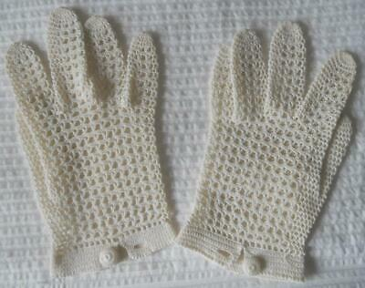 Pr Vintage Crocheted Creamy White Cotton Gloves 7 To 7 1/2