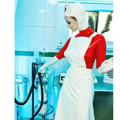 Latex Rubber Gummi Uniform Nurse Schürze Rot Weiß Catsuit Bodysuit 0.4mm S-XXL