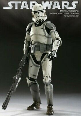 Sideshow Star Wars Coruscant Clone Trooper 41st Elite Corps Escala 1:6 USED MINT