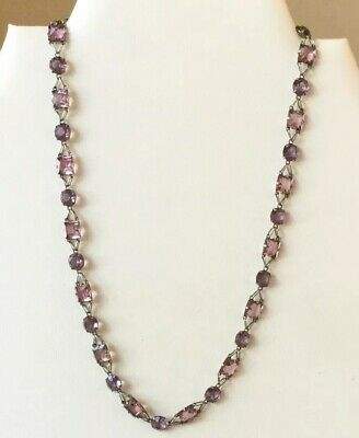 Vintage Art Deco Open Back Amethyst Glass Necklace Unusual Design c1930's