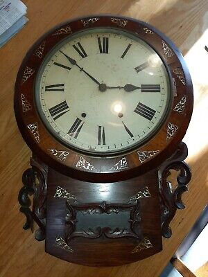 Antique American Inlaid Drop Dial Wall Clock