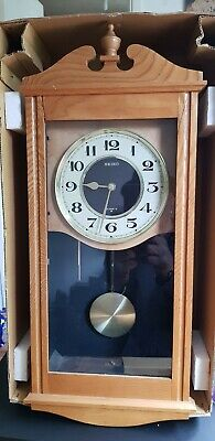 Seiko Analogue Pendulum Wall Clock, Westminster Chimes, Solid Wood Boxed .