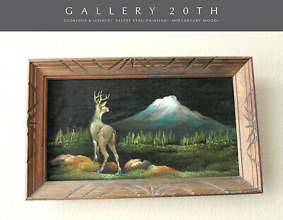 Beautiful! 50'S Mid Century Modern Stag Velvet Painting! Wall Art Vtg Deer 60S