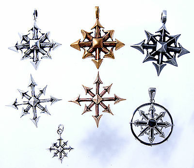 The Chaos Star Bronze, Silver, Tin Stainless Steel Pendant Amulet Larp Magic
