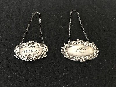 "Antique Sterling Silver Hallmarked Decanter Labels ""Sherry"" and ""Port"""