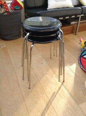 Arne Jacobsen Stools Black Four Legged X 3