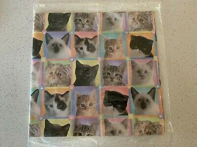 VINTAGE All Occasion Gift Wrap~Kittens and Cats Paw Prints Multi-color~Adorable!