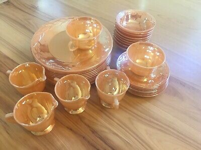 Lot Of 33 Vintage Fire-King Oven Ware Peach Lustre Laurel Leaf USA Dinner Bowls