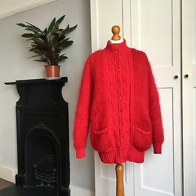 Vtg 80s Bright Red Mohair Wool Blend Fluffy Lined Oversized Cardigan 14 16 18