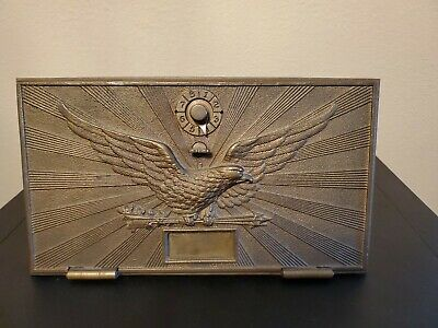 Vintage Antique Brass US Post Office Mail Box Door & Bracket EARLY WAR EAGLE