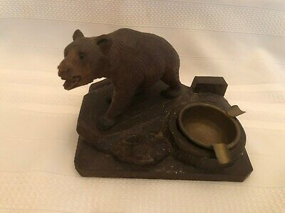 Antique German Black Forest Carved Wood Bear Ashtray & Match Box Holder
