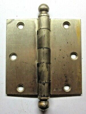 "1 Antique Square 3-1/2"" McKinney Satin Brass Plated Mortise Door Hinge Ball Tips"