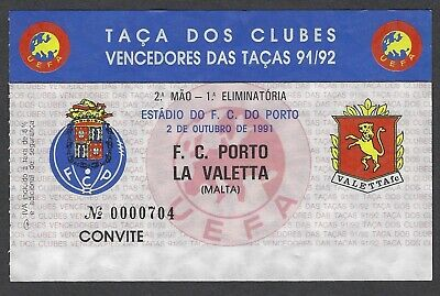 Malta Football Ticket FC Porto Portugal v Valletta European Cup Winners Cup 1991