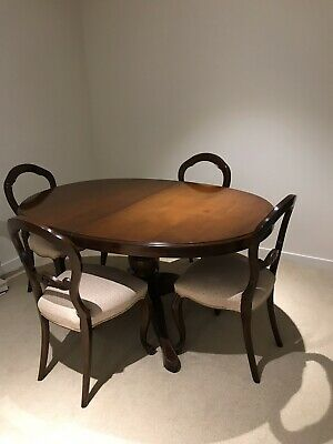 Antique Dining Table With 6 Chairs And Has MidExtension If Required.