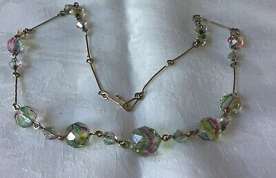Vintage Art Deco Iris Rainbow Glass Beads / Rolled Gold Necklace c1930's