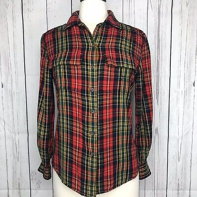 Ralph Lauren Womens Plaid Flannel Button Down Shirt Size 6 Red Green Pockets Top